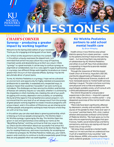 "Pediatrics newsletter, ""Milestones"""
